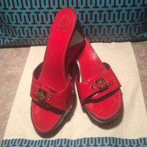 Tory Burch Red Patent Leather Logo Wedges